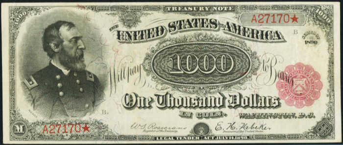 Picture of 1891 $1000 Treasury Note