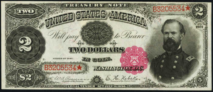 Picture of 1891 $2 Treasury Note