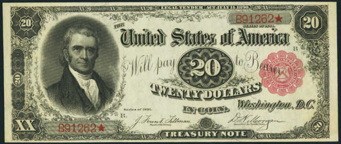 Picture of 1891 $20 Treasury Note