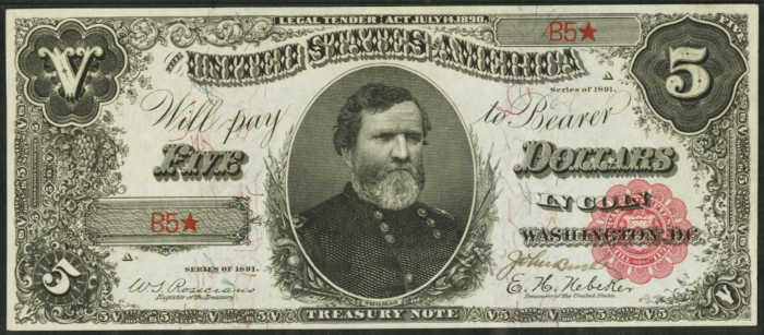 Picture of 1891 $5 Treasury Note