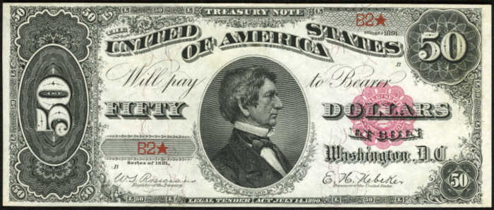 Picture of 1891 $50 Treasury Note