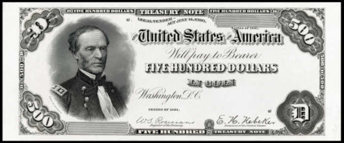 Picture of 1891 $500 Treasury Note