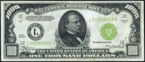 Picture of 1934 $1000 Serial Number 8 Federal Reserve Note