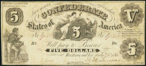 Picture of $5 1861 Confederate States of America Note