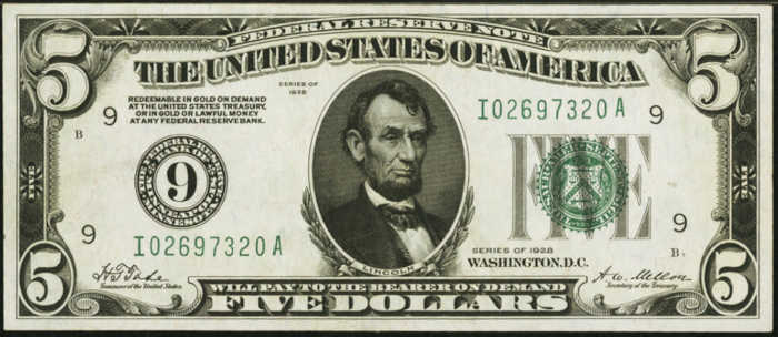 Picture of 1928 $5 Federal Reserve Note
