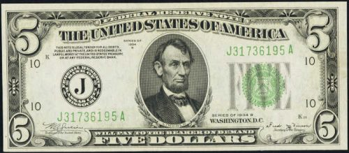 $5 Green Seal Federal Reserve Note