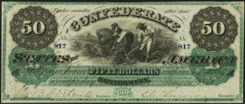 Picture of $50 1861 Confederate States of America Note