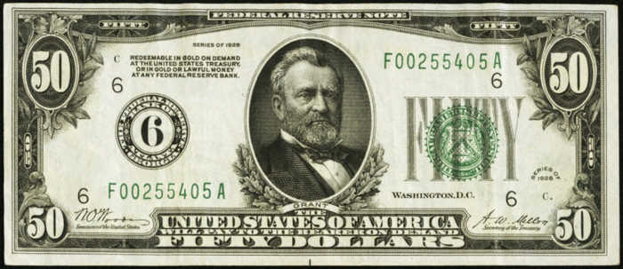 Picture of $50 Green Seal Federal Reserve Note from 1928
