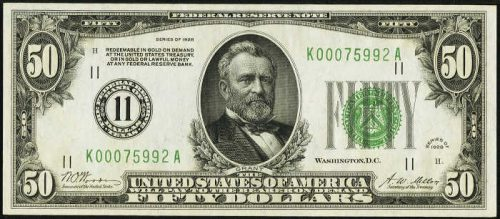 $50 Green Seal Federal Reserve Note
