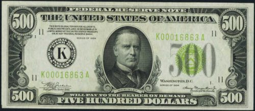$500 Green Seal Federal Reserve Note