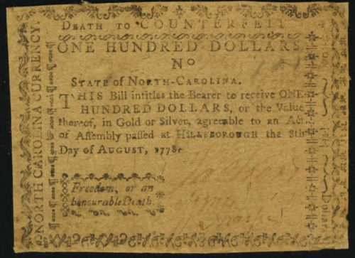 Picture of August 8, 1778 $100 Continental Currency Colonial Note