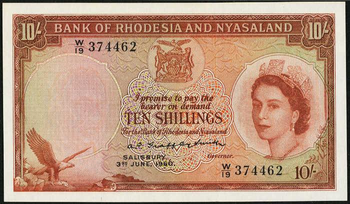 Bank of Rhodesia and Nyasaland 10 shillings banknote 1956-60