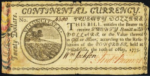 Picture of May 10, 1775 $20 Continental Currency Colonial Note