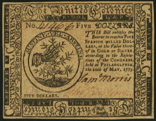 Picture of May 10, 1775 $5 Continental Currency Bill