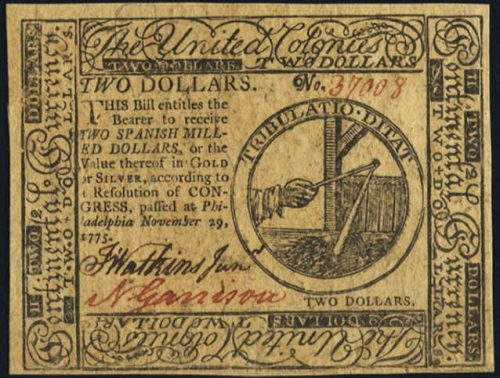 Picture of November 29, 1775 $2 Continental Currency Note