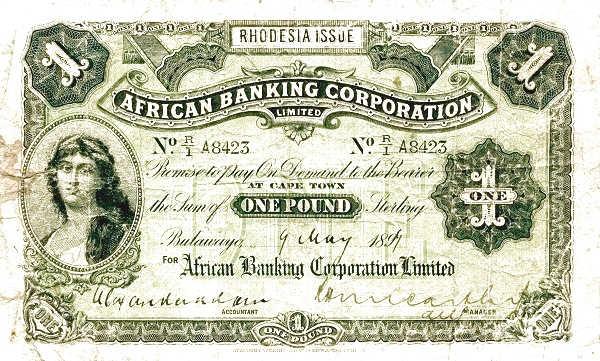 Rhodesia 1 Pound 1890s Banknote
