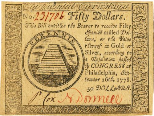 Picture of September 26, 1778 $50 Continental Currency Colonial Note