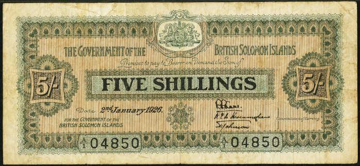 Solomon Islands 5 Shillings 1916-1926 British Government