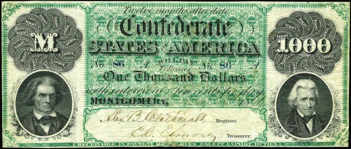 T-1 1861 Montgomery $1,000 Confederate Paper Money