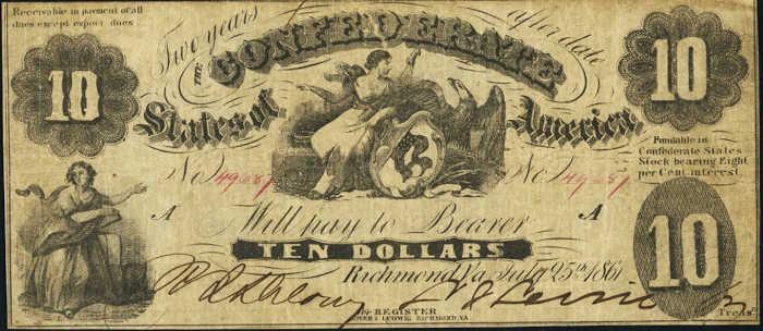 T-10 1861 Richmond $100 Confederate Paper Money