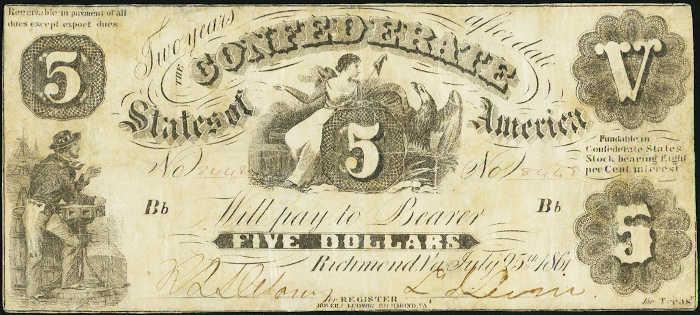 T-11 1861 Richmond $5 Confederate Paper Money