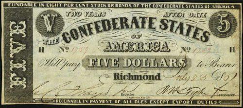 T-12 1861 Richmond $5 Confederate Paper Money