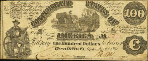 T-13 1861 Richmond $100 Confederate Paper Money