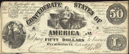 T-14 1861 Richmond $50 Confederate Paper Money