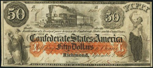 T-15 1861 Richmond $50 Confederate Paper Money