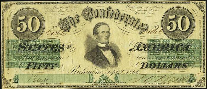 T-16 1861 Richmond $50 Confederate Paper Money