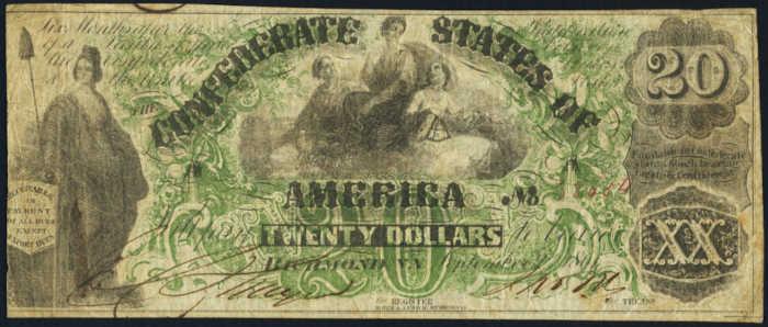 T-17 1861 Richmond $20 Confederate Paper Money