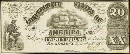 T-18 1861 Richmond $20 Confederate Paper Money