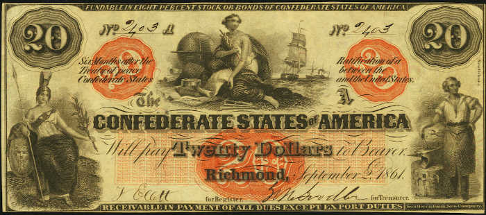 T-19 1861 Richmond $20 Confederate Paper Money