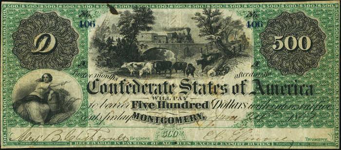 T-2 1861 Montgomery $500 Confederate Paper Money
