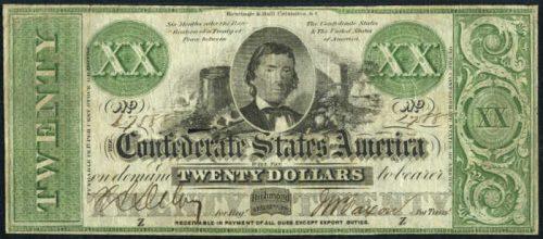 T-21 1861 Richmond $20 Confederate Paper Money