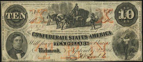 T-23 1861 Richmond $10 Confederate Paper Money