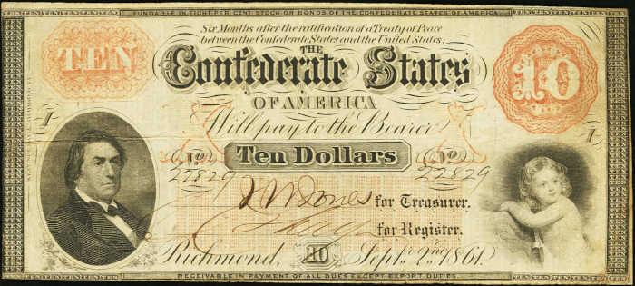 T-24 1861 Richmond $10 Confederate Paper Money
