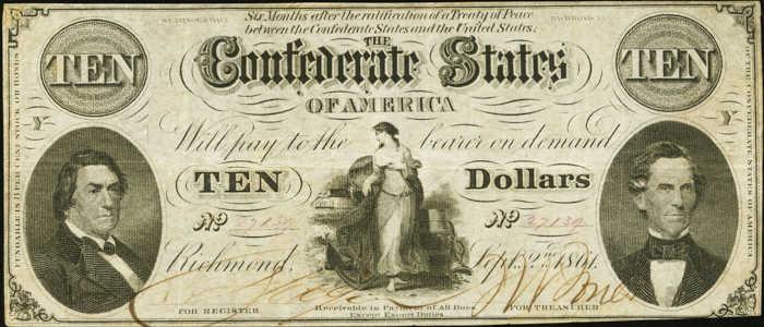 T-25 1861 Richmond $10 Confederate Paper Money