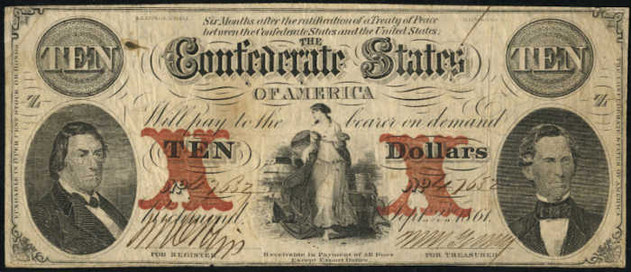 T-26 1861 Richmond $10 Confederate Paper Money