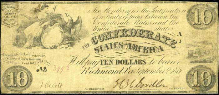 T-27 1861 Richmond $10 Confederate Paper Money