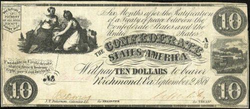 T-28 1861 Richmond $10 Confederate Paper Money