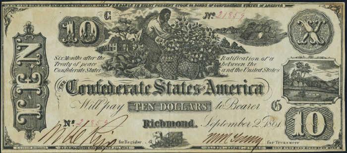 T-29 1861 Richmond $10 Confederate Paper Money