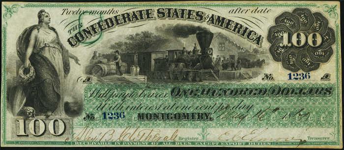 T-3 1861 Montgomery $100 Confederate Paper Money
