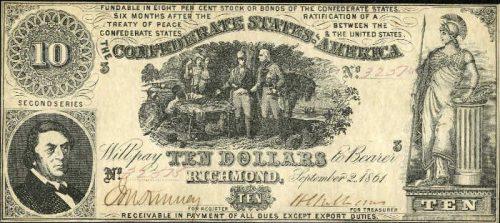 T-30 1861 Richmond $10 Confederate Paper Money