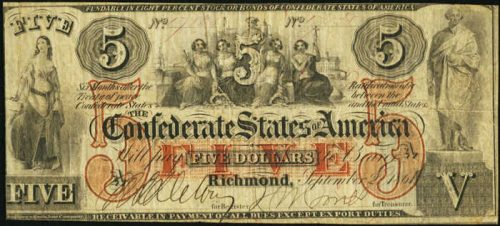 T-31 1861 Richmond $5 Confederate Paper Money