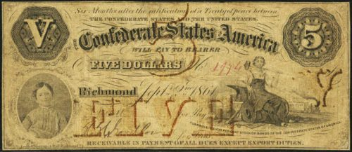 T-32 1861 Richmond $5 Confederate Paper Money