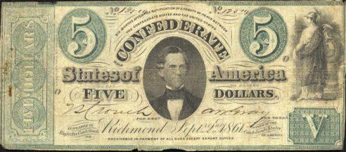 T-33 1861 Richmond $5 Confederate Paper Money