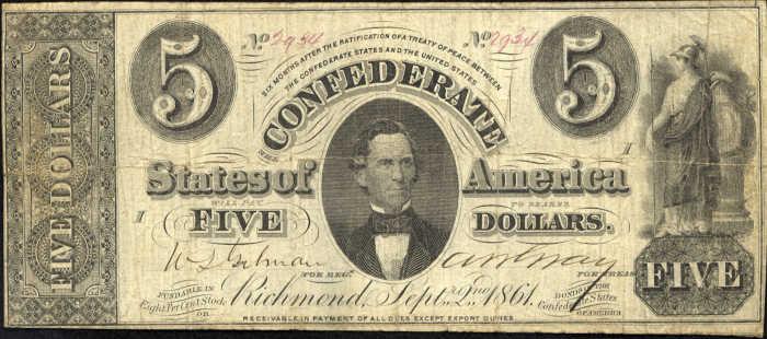T-34 1861 Richmond $5 Confederate Paper Money