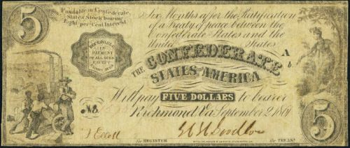 T-35 1861 Richmond $5 Confederate Paper Money