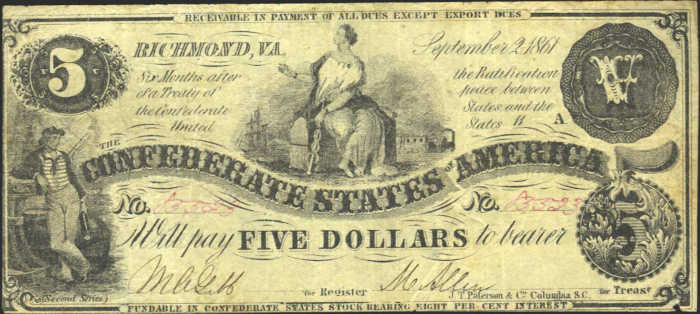 T-36 1861 Richmond $5 Confederate Paper Money